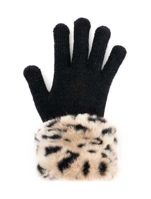 Donna Salyers' Fabulous-Faux Furs Black & Tan Cheetah Faux Fur-Trim Gloves
