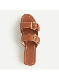 Leather double buckle-strap sandals