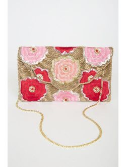 Let Your Love Bloom Red and Gold Beaded Embroidered Clutch