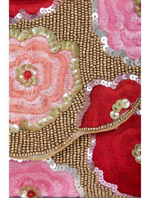 Lulus Let Your Love Bloom Red and Gold Beaded Embroidered Clutch