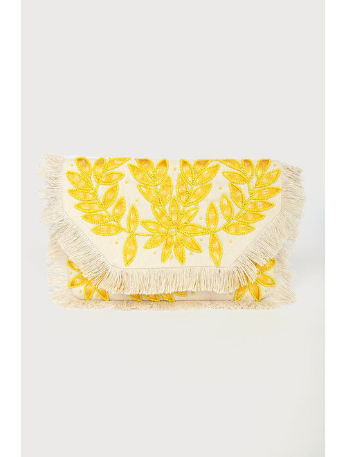 Lulus In the Flora Natural Multi Floral Beaded Fringe Clutch