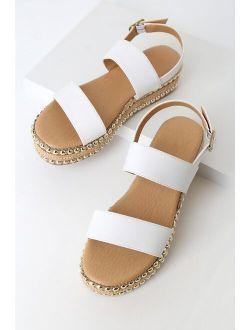 Seven Dials Dallas White Studded Flatform Espadrille Sandals