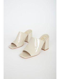 Qwynn Bone Patent High Heel Slide Sandals