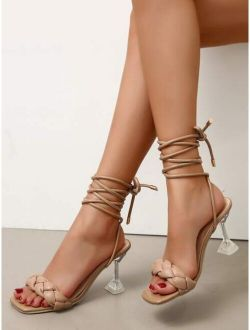 Braided Pyramid Heeled Gladiator Sandals
