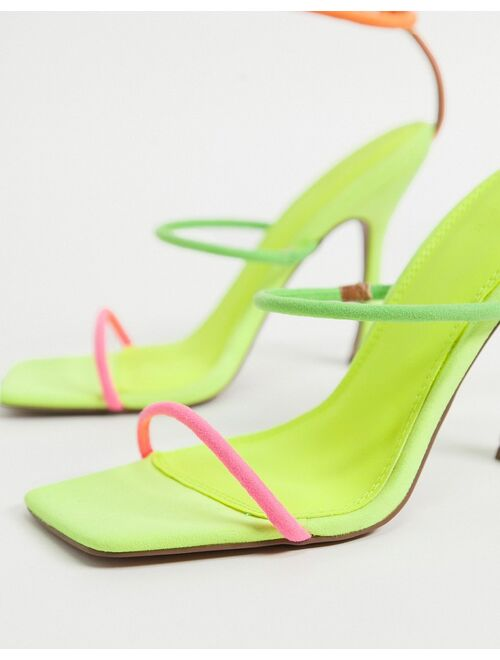 ASOS DESIGN Negotiate barely there diamante high-heeled sandals in neon