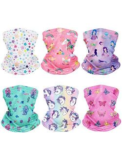 CIKIShield 6Pcs Children Adjustable Neck Gaiter Bandanas Kids Face Mask Scarf Balaclavas Wind UV Protection …