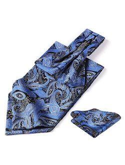 Men's Cravat Ascot Ties Paisley Jacquard Woven Floral Luxury Ascot Scarf Tie And Handkerchief Set