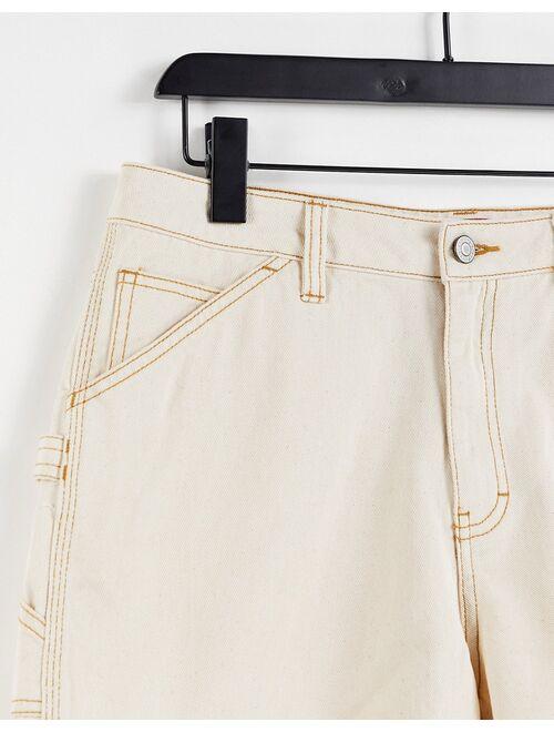Dickies Girl 3 inch Hi Rise Carpenter shorts in cream