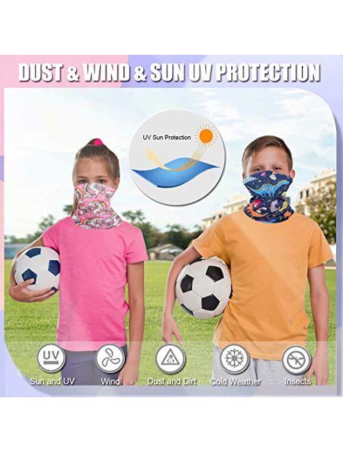 [3 Pack] Kids Face Bandanas Neck Gaiter, Reusable Mask Scarf Washable Fabric Cloth Balaclava for 3-12 Years Boys Girls
