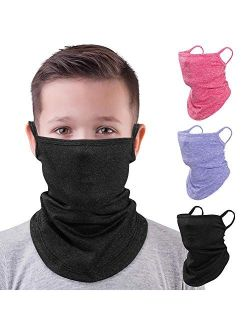 MoKo Kids Neck Gaiter Face Mask, 3 Pack Scarf Bandana Mask with Ear Loops for Kids Balaclava UV Sun Protection Dust Wind Proof Children Outdoors Cycle Skating Bandanas He