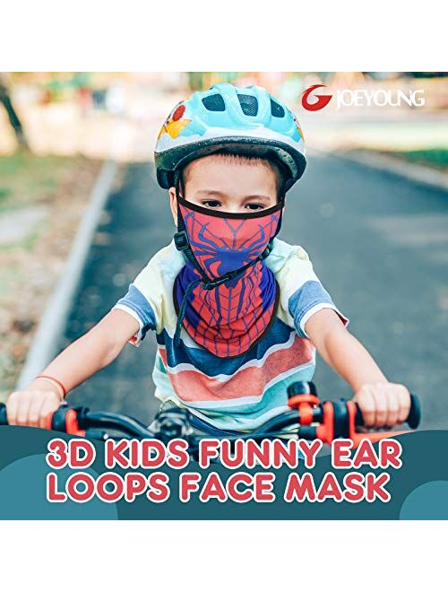 JOEYOUNG Kids Face Mask Bandanas with Ear Loops Neck Gaiter Skull Mask UV Sun Mask Dust Half Face Mask for Cycling, 4-13 Years Boys/Girls/Children/Youth Mask for Outdoor,
