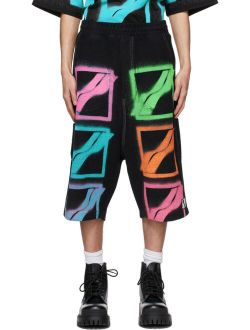 We11done Black Multi Logo Carpenter Shorts