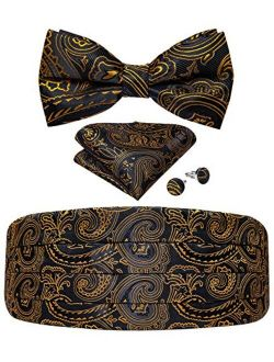 DiBanGu Mens Formal Cummerbund Bow Tie Pocket Square Cufflinks Paisley Floral Set for Suit Tuxedo