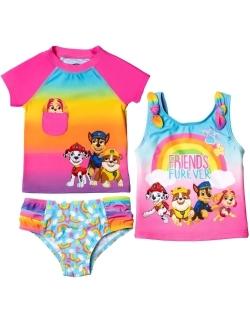Paw Patrol Girls 3 Piece Rash Guard Tankini Swimsuit Set