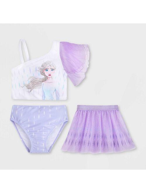 Girls' Disney Frozen 2 3pc Midkini Set - White/Purple - Disney Store