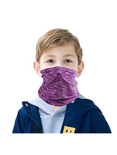 HAO HONG Summer Cooling Kids Face Scarf Cover Dust Bandana Neck Gaiter Multifunction Headband Balaclava Outdoors Dustproof Lightweight (Single-Color23)
