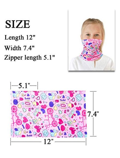 Kids Summer Protection Face Cover with Filter - Cute Neck Gaiter Bandanas for Outerdoor Travel