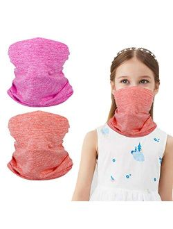 Kids Summer Protection Face Cover, Bandana Neck Gaiter Balaclava for Girls Boys Children Gift, Mask Half Face,Reusable Breathable Washable Infinity Scarf Scarve for Hikin
