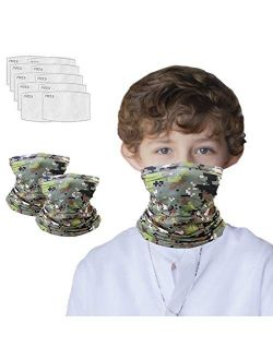 2Pcs Neck Gaiter with Filters, Face Cover for Outdoors, Washable and Reusable