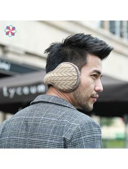 Unisex Knitted Thicken EarMuffs Winter Warm Plus Velvet EarMuff Women Men Windproof Soft Ear Muffs Adult Earmuffs W118