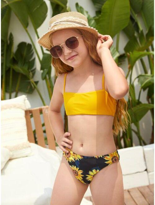 3pack Girls Random Sunflower Print Bikini Swimsuit With Cover Up