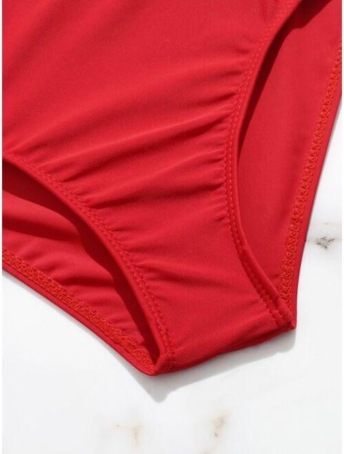 Girls Plain Bikini Swimsuit