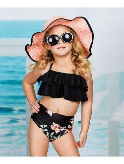 Mia Belle Girls Black Floral Ruffle-Accent Halter Bikini - Toddler & Girls