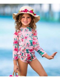 Mia Belle Girls Pink & Green Floral Skirted Rashguard Set - Toddler & Girls