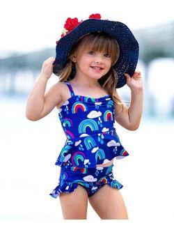 Mia Belle Girls Blue Rainbow Skirted Tankini - Toddler & Girls