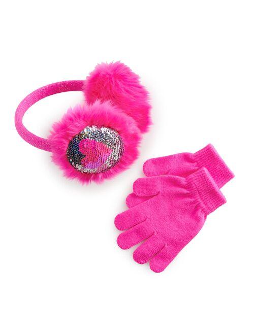 Girls 4-14 Elli by Capelli Faux Fur Sequin Earmuffs & Magic Gloves Set