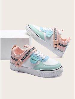 Women's PU Leather Round Toe Color Block Skate Shoes