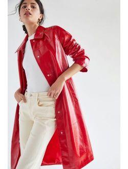 Avec Les Filles Cherry Faux Leather Trench Coat