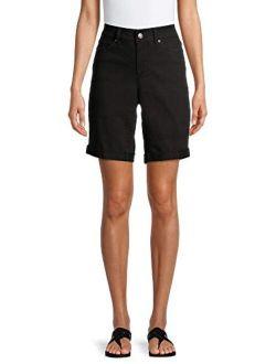 Time & Tru Women's Relaxed Fit Mid-Rise Denim Bermuda Shorts