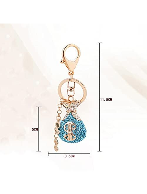 SSMDYLYM Crystal Lucky Bag Keychain Women Men Dollar Sign Chain Tassel Key Ring Letter Car Wallet Accessories (Color : Purple)