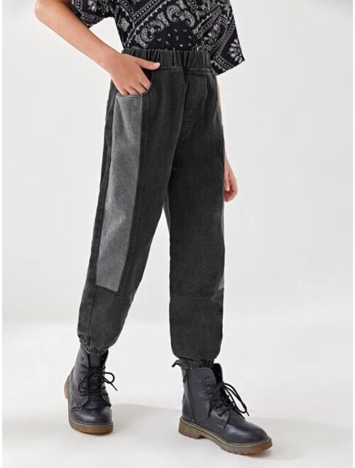 Shein Boys Contrast Panel Tapered Jeans
