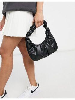 Ego shoulder bag with ruching in black