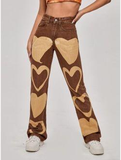 High Waist Heart Print Straight Jeans
