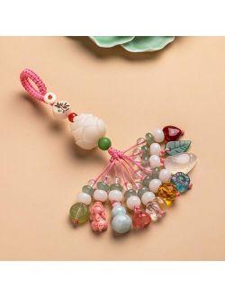 Weiyu Nautral Crystal Energy Stone Keychain Bring Health Wealth Lucky Pig PIXIU Lotus Key Chains Key Ring Key Holder For Women Jewelry