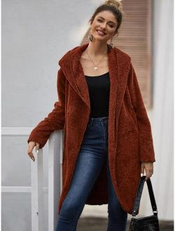 Dual Pockets Open Front Hooded Teddy Coat
