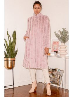 Cozy Queen Blush Pink Faux Fur Long Coat