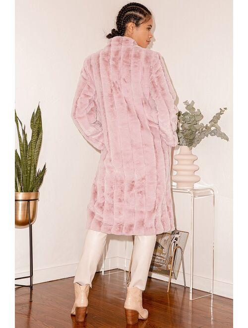 Lulus Cozy Queen Blush Pink Faux Fur Long Coat