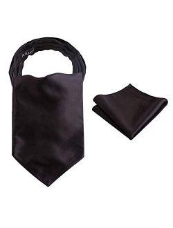 Alizeal Mens Self-tied Cravat Tie Ascot and Pocket Square Set