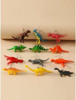 6pairs Dinosaur Charm Drop Earrings