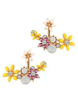Flower Ear Jacket Earrings for Women Girl Austrian Crystal Simple Chic Front Back Ear Cuffs Stud Earrings
