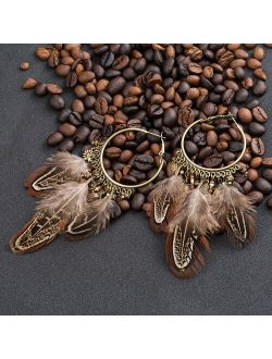 EXYNLON Boho Exaggerate Brown Feather Tassel Pendant Earrings For Women Bohemian  Metal Round Circle Wood Metal Chain Earring Jewelry