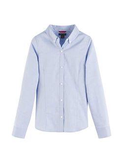 Long Sleeve Oxford Girls Buttondown Collar Blouse, Kids School Uniform Clothes