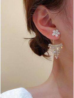 Flower & Rhinestone Tassel Decor Earring Jackets