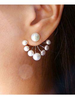 Vera & Co. Cultured Pearl & Sterling Silver Fan Ear Jackets