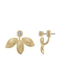 RACHEL Rachel Roy Gold Leaf Front Back Stud Earrings for Women Fashion