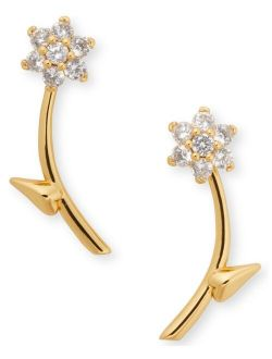 Gold-Tone Crystal Forget-Me-Not Front-and-Back Earrings